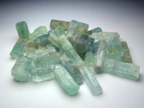 Set of Six Small Aquamarine Crystals - Perfect for Grids, Mandalas, and Healing Layouts