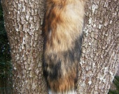 Real Red Fox Tail Keychain - 23 inches long with White Tip - Leather Reinforced