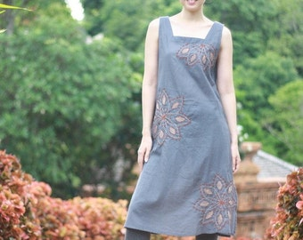 SALE 29 USD--B018--Sunflower Tunic (Cotton tunic with flowers embroidery)