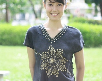 SALE 29 USD--B149--Sunshine (Cotton blouse with flowers embroidery)