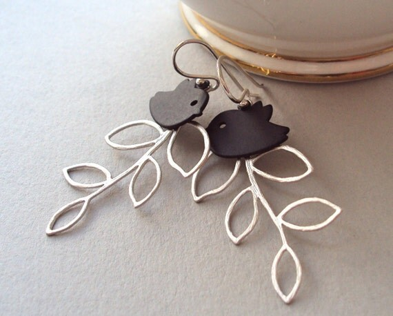 Blackbird and Silver Branch dangly earrings