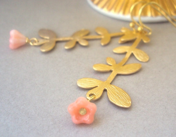 Gold Branch and Pink Flower earrings