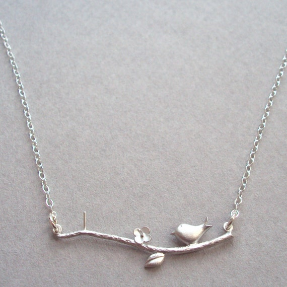 Silver Necklace with Tiny Bird and sterling silver chain