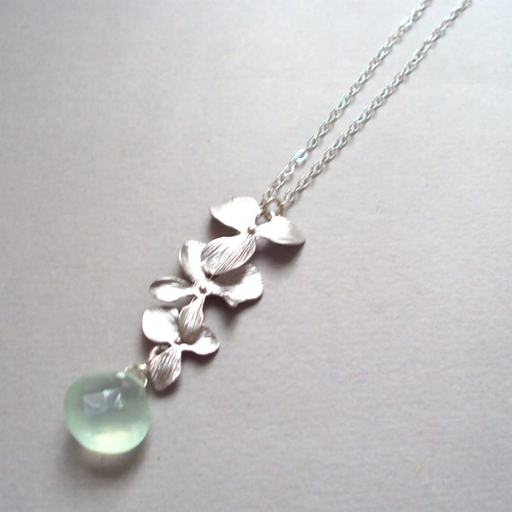Silver Orchid Flowers necklace with Aqua Chalcedony & sterling silver chain