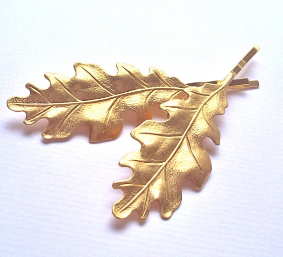 Large Gold Oak Leaf hair slides