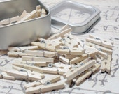 Tin of Wooden Mini Clothespins - 50 Pieces