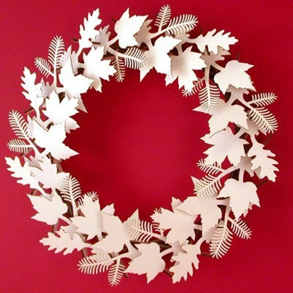 Leaf Wreath- White or Brown