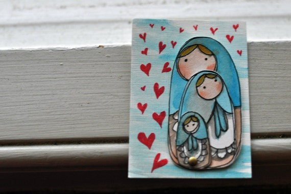 Raining Love - Watercolor Russian Doll ACEO
