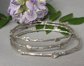 Twig and leaf bangle bracelet set, sterling silver, woodland, nature jewelry, standard size