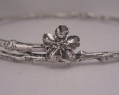 forget me not bangle bracelet memorial jewelry twig and wildflower bracelet sterling silver