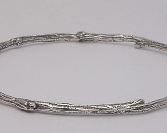 silver twig bangle bracelet sterling nature jewelry tree bracelet