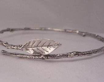 rose leaf bracelet sterling silver twig bracelet extra small bangle