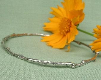 nature jewelry twig bangle bracelet sterling silver woodland bangle bracelet