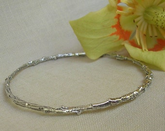 Sterling silver natural twig bangle bracelet nature jewelry rustic
