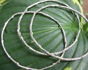 silver twig bracelets botanical bangle bracelet set of 3 bangles woodland jewelry