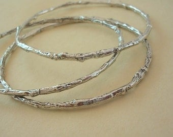 twig jewelry bangle bracelet set of 3 sterling silver medium weight xsmall thru plus size