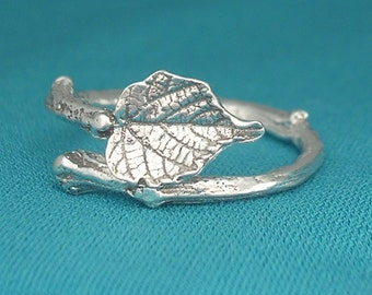 twig ring, grape leaf ring, botanical jewelry, sterling silver