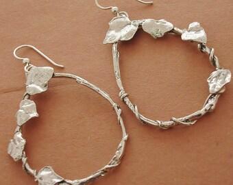 twig earrings ivy leaf hoop earrings sterling silver
