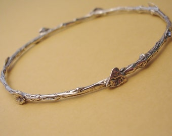 extra small bangle bracelet twig and leaf nature jewelry sterling silver