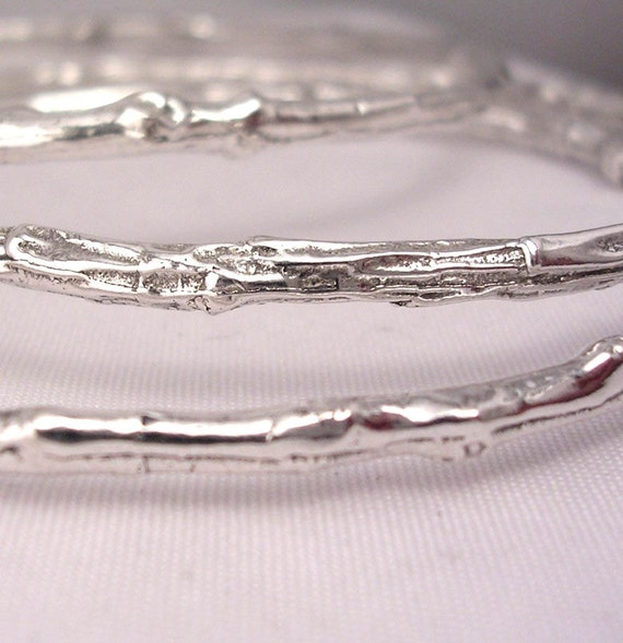 twig bracelets, stacking bangle set, rustic woodland jewelry, sterling silver, medium weight
