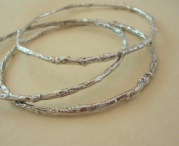 twig bracelets, woodland bangle bracelet, set of 3, sterling silver, medium weight xsmall thru plus size