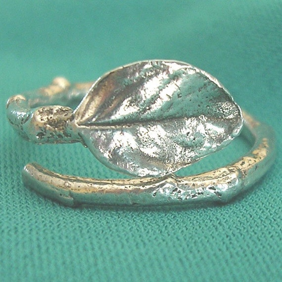 twig ring size 6 with a natural rose leaf sterling silver