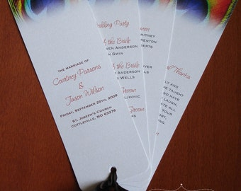 Fanned Peacock Wedding Programs on Metallic Stardream Cardstock with Ribbon- Design Fee