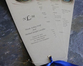 Peacock Fan Programs on Gold Leaf Metallic Cardstock with Sapphire Ribbon - Design Fee