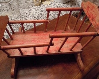 Antique Red Wooden Doll Cradle