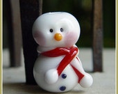 Red Snowman Holiday Lampwork Bead