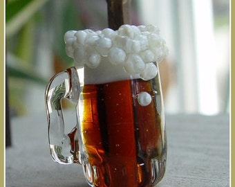 Beer Mug Lampwork Bead