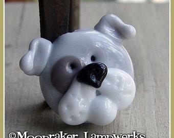 Gray Bulldog Puppy Focal Lampwork Bead