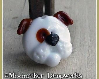 White Bulldog Puppy Focal Lampwork Bead