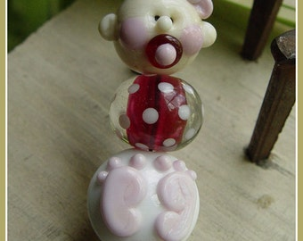 New Baby Girl Lampwork Bead Set