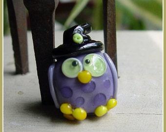 Owl Witch Halloween Lampwork Bead