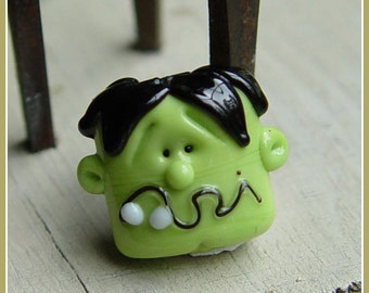 Frankenstein Monster Halloween Lampwork Bead
