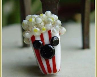 Mouse Ears Popcorn Box Lampwork Bead
