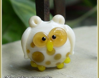 Ivory Spotted Owl Lampwork Bead