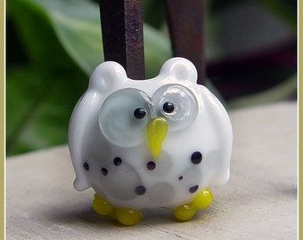 White Spotted Owl Lampwork Bead