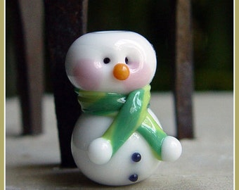 Green Snowman Holiday Lampwork Bead
