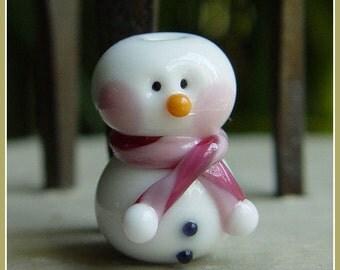 Pink Snowman Holiday Lampwork Bead