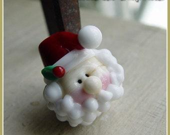 Round Santa Holiday Christmas Lampwork Bead