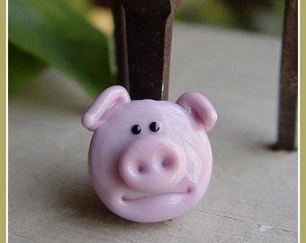 Hogs Wild Pink Pig Lampwork Bead