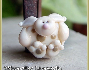 Hoppy Bunny Ivory Rabbit Spring Lampwork Bead