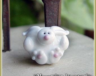 Hoppy Bunny White Rabbit Spring Lampwork Bead