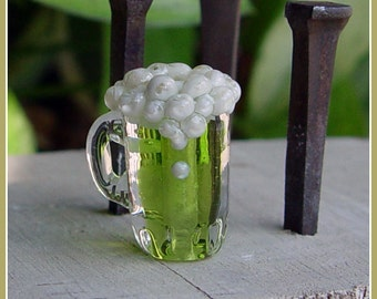Green Beer Lampwork Bead