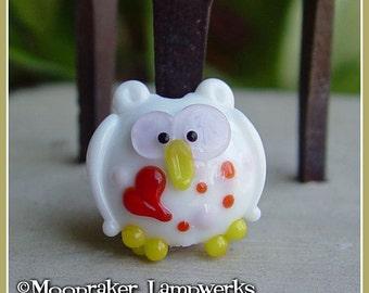 Love Owl Bird Lampwork Bead
