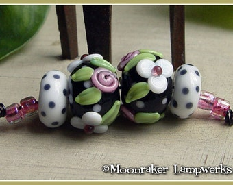 Tuxedo Floral Pair - Black and White Lampwork Bead Set