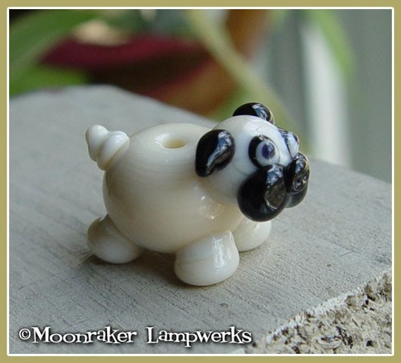 Pug Puppy Dog Lampwork Bead