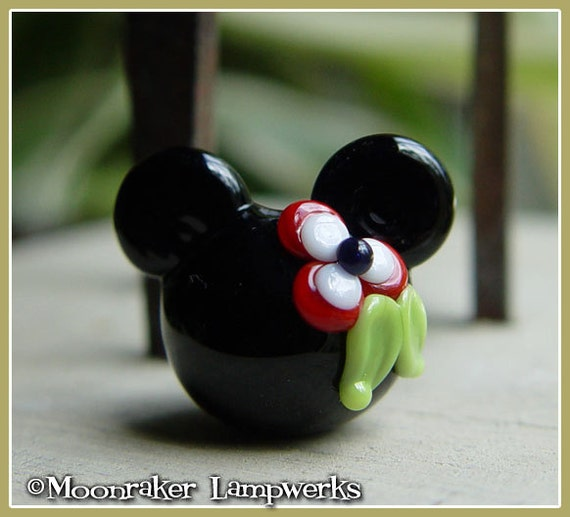 Red Flower Mouse Ears Lampwork Bead